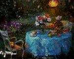 Вечер в саду (2014, 100x100см,  холст, масло)