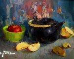 Натюрморт с чайником (2011, мдф, масло)
