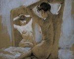 Перед зеркалом (2006, бумага, уголь, белила)