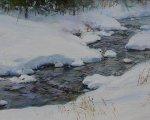 Зимний ручей (2007, 25x100см, холст, масло)