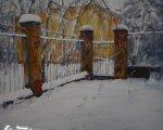 Снежное утро (2008, 80x80см, бумага, акварель)